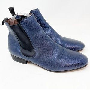 BOEMOS ITALY Blue Metallic Chelsea Ankle Boots